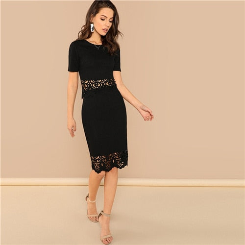 Black Elegant Office Lady Scallop Edge Laser Cut Top And Skirt Set - Alilight.net
