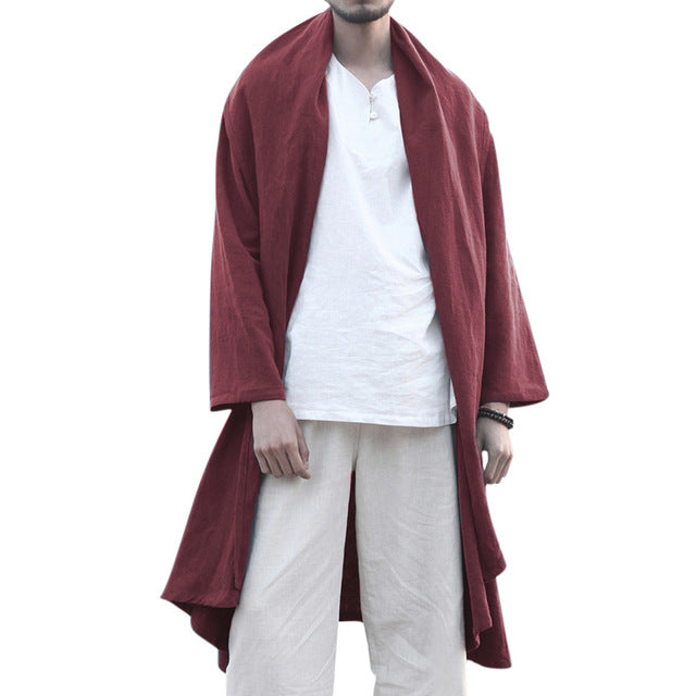 Men Trench Long Cloak Cardigan Chinese Style - Alilight.net