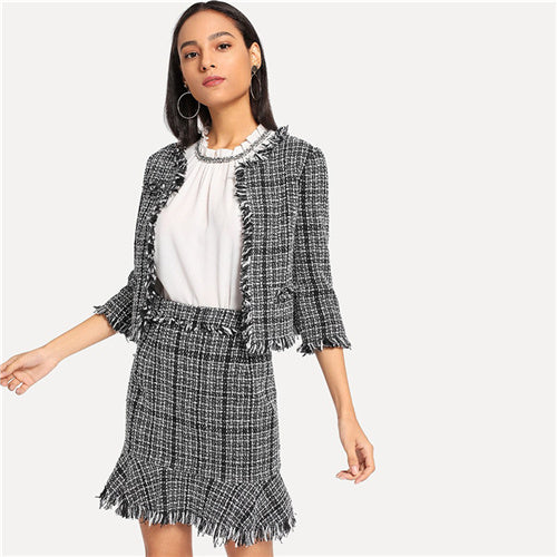 SHEIN Black And White Office Lady Elegant Frayed Edge Tweed Blazer And Skirt - Alilight.net