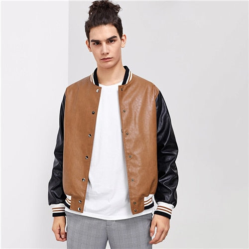SHEIN Men Jacket Outerwear & Coats Single Breasted Patchwork - Alilight.net