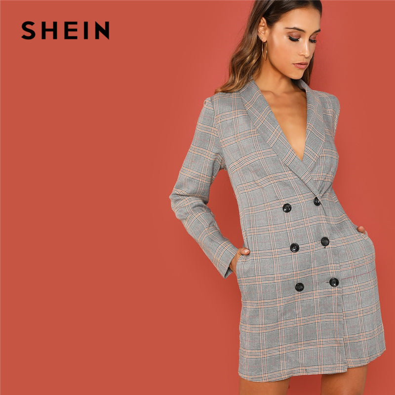 SHEIN Grey Elegant Office Lady Shawl Collar Double Breasted Plaid Long Sleeve Coat - Alilight.net