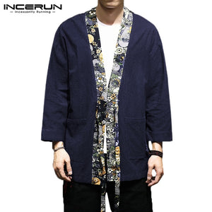 INCERUN Outerwear Men Trench Coat Cotton Long Sleeve - Alilight.net