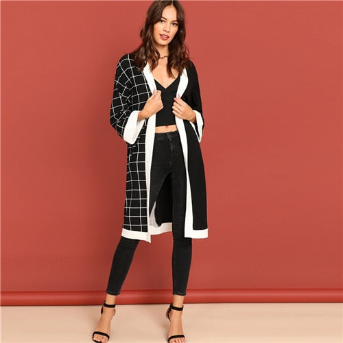 SHEIN Modern Lady Black and White Cut and Sew Grid Print Plaid Knee Length - Alilight.net