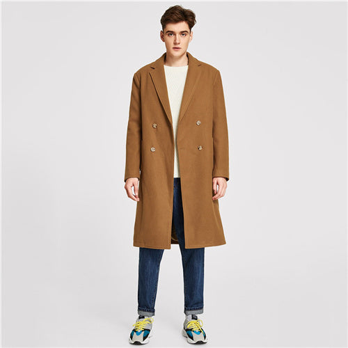 SHEIN Men Camel Casual Coat - Alilight.net