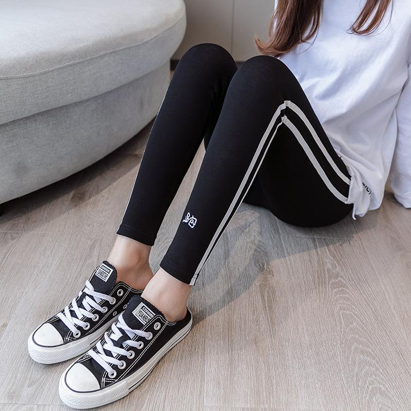 sidewisewisewise leggings female wear moving embroider plus size stripes nine points sweatpants - Alilight.net