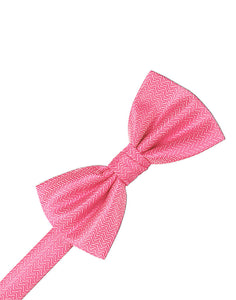 Bubblegum Herringbone Bow Tie