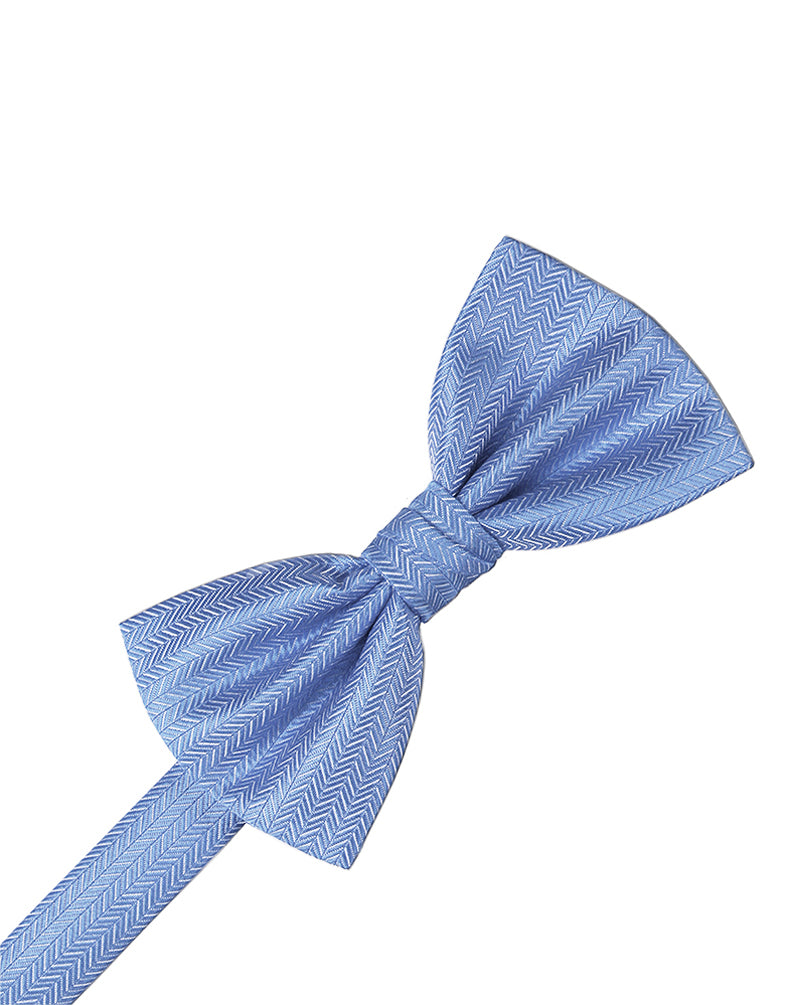 Cornflower Herringbone Bow Tie