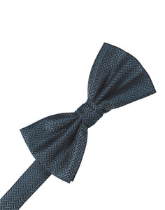 Haze Blue Herringbone Bow Tie