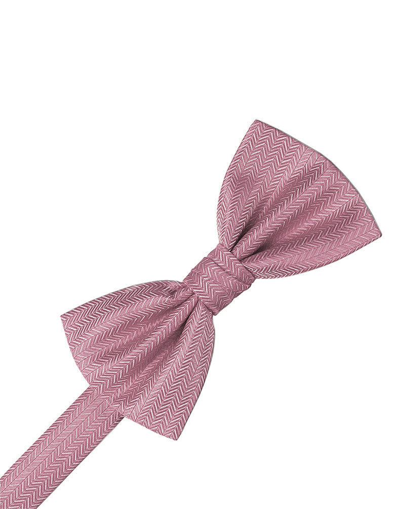 Rose Herringbone Bow Tie