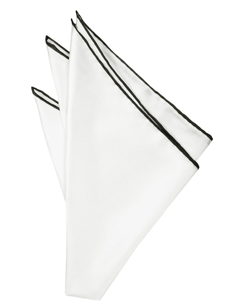 White Silk with Black Hand Rolled Trim Pocket Square