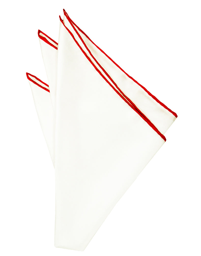 White Silk with Red Hand Rolled Trim Pocket Square