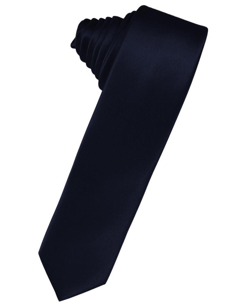 Midnight Blue Luxury Satin Skinny Necktie