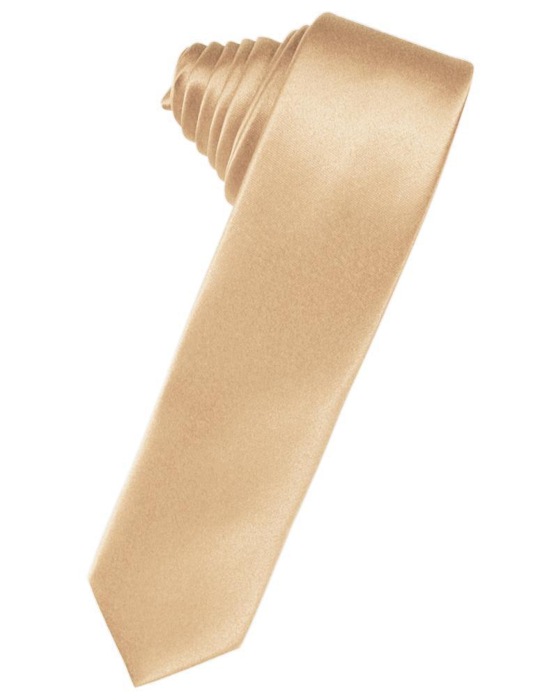Peach Luxury Satin Skinny Necktie
