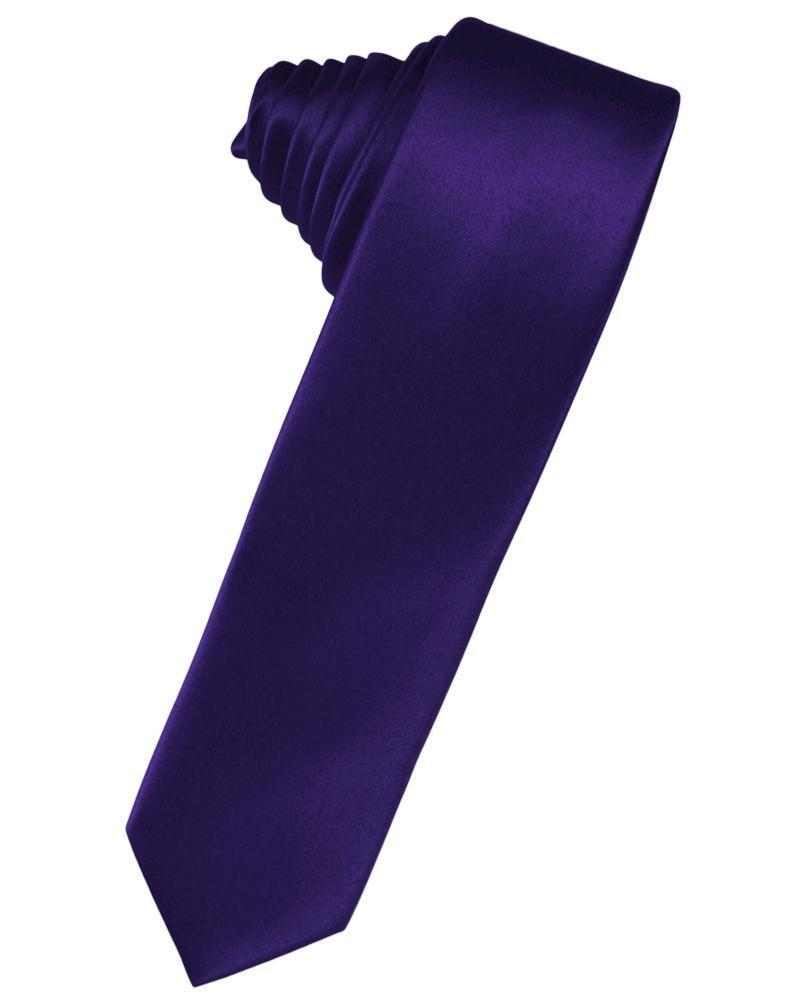 Purple Luxury Satin Skinny Necktie