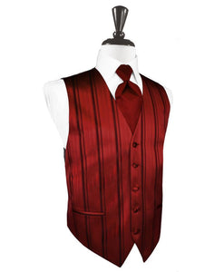 Apple Striped Satin Tuxedo Vest