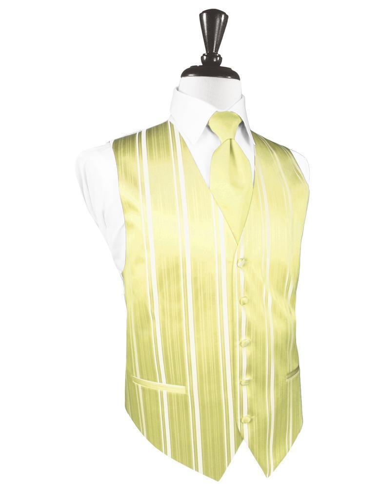 Banana Striped Satin Tuxedo Vest