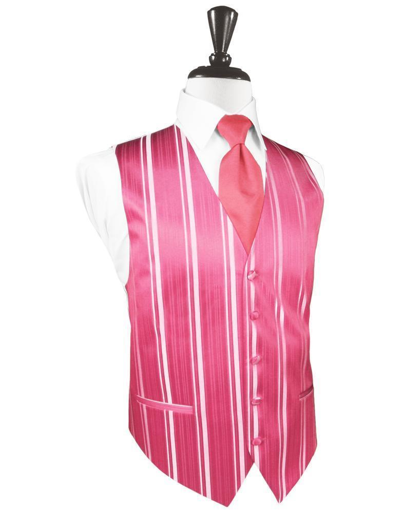 Bubblegum Striped Satin Tuxedo Vest