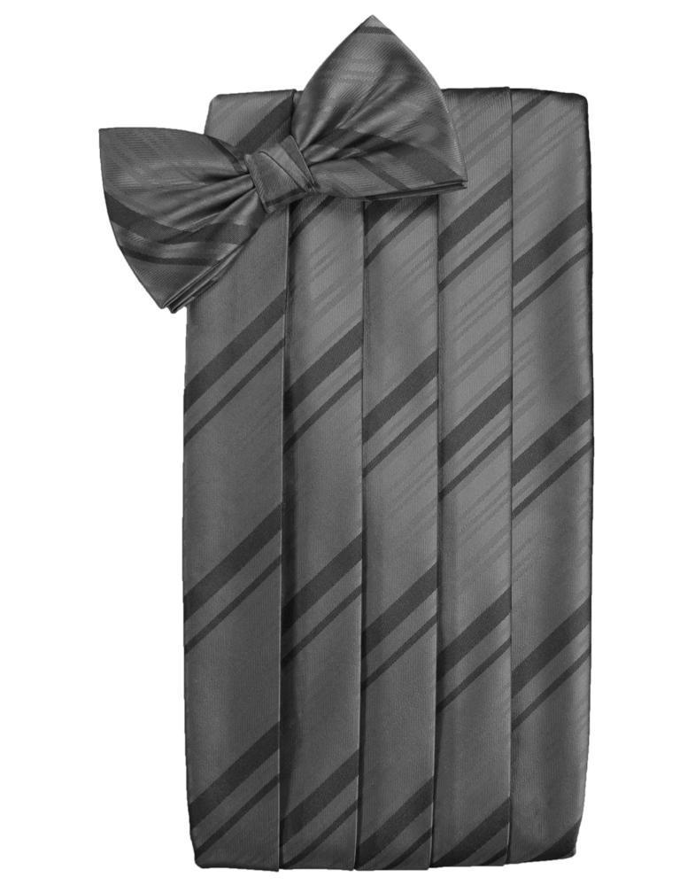 Charcoal Striped Satin Cummerbund