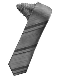 Charcoal Striped Satin Skinny Necktie