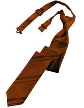 Cognac Striped Satin Skinny Necktie