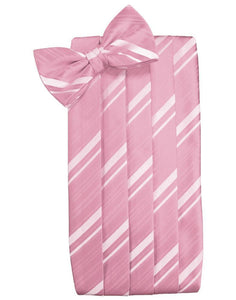 Coral Striped Satin Cummerbund