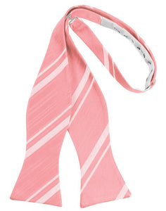 Coral Reef Striped Satin Bow Tie