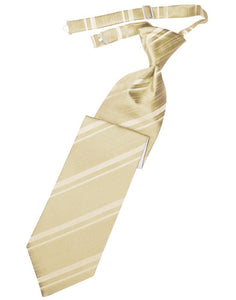 Golden Striped Satin Necktie