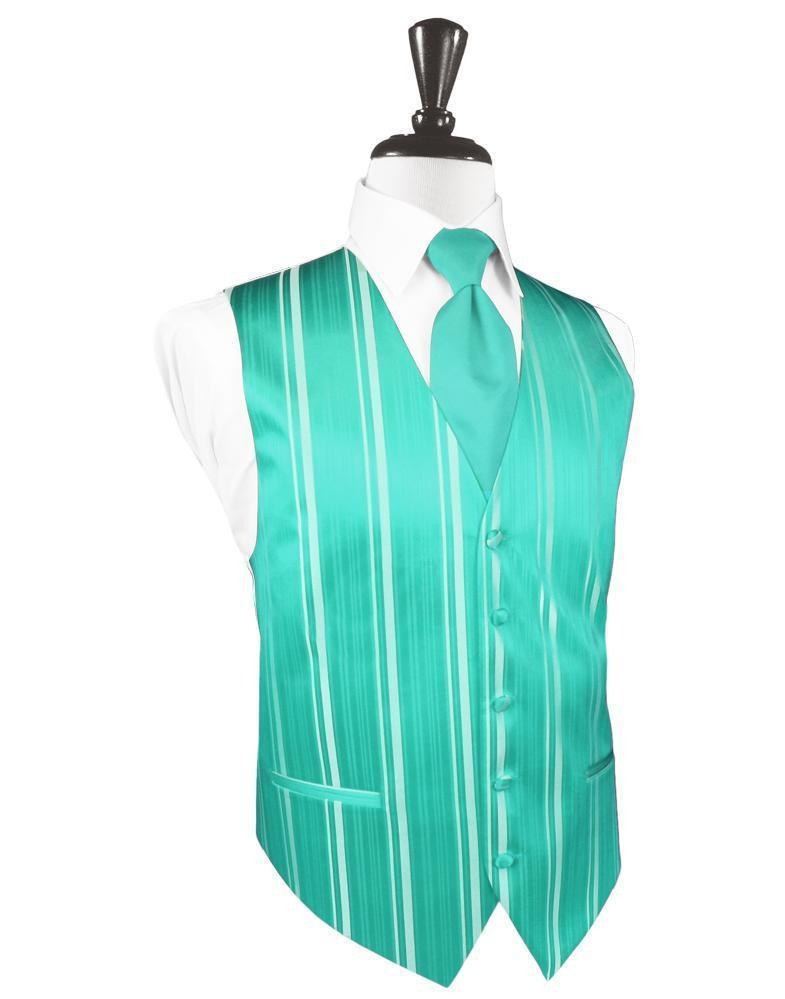 Mermaid Striped Satin Tuxedo Vest