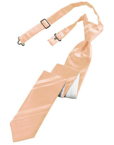 Peach Striped Satin Skinny Necktie