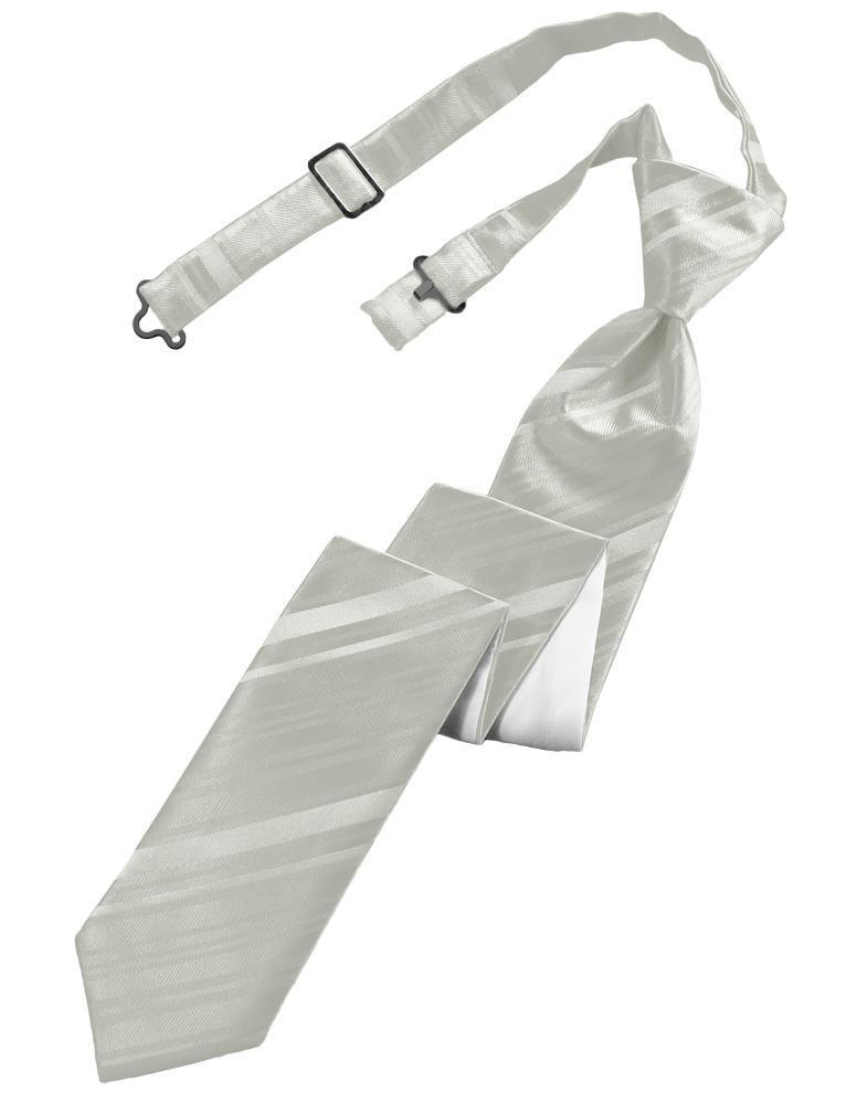 Platinum Striped Satin Skinny Necktie
