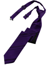 Purple Striped Satin Skinny Necktie