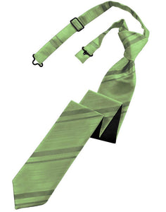 Sage Striped Satin Skinny Necktie