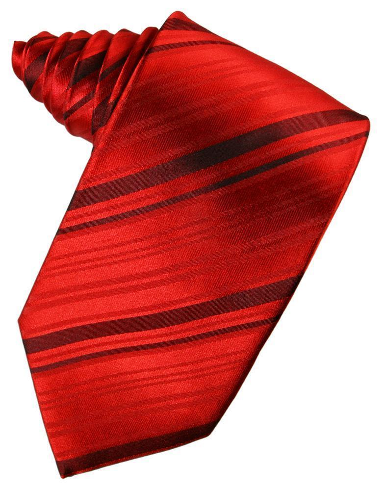 Scarlet Striped Satin Necktie