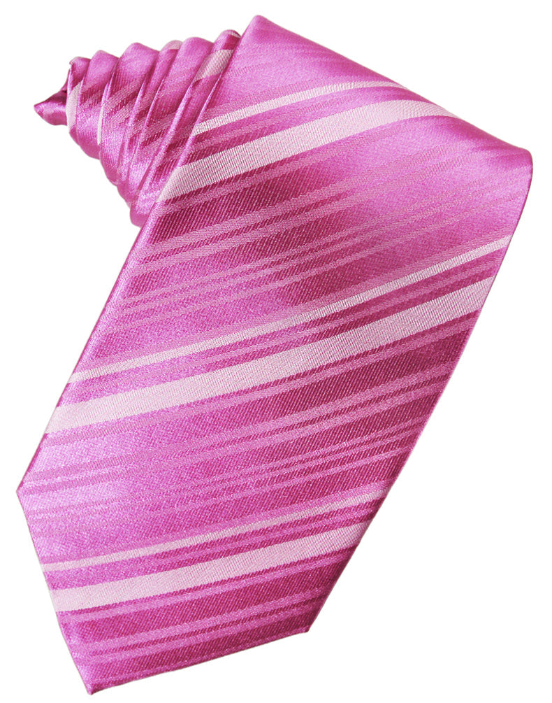 Fuchsia Striped Silk Necktie