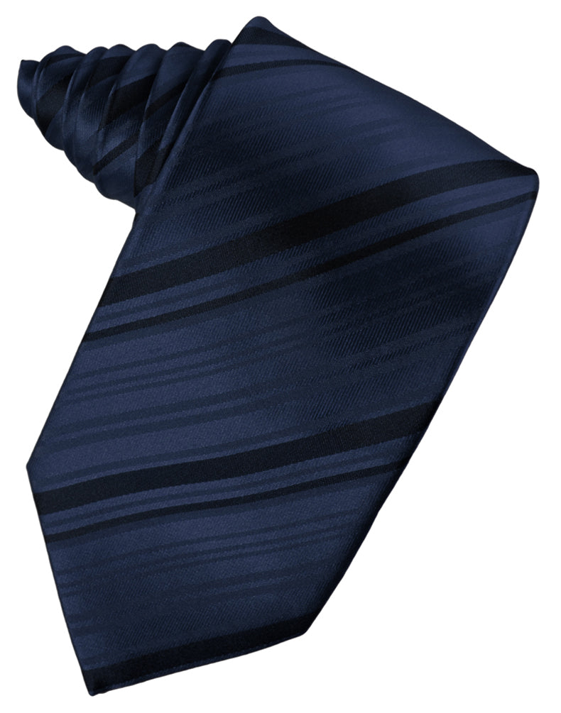 Midnight Blue Striped Silk Necktie
