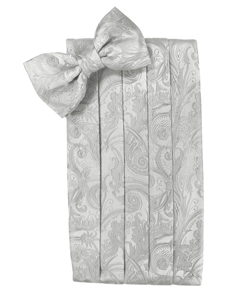 Platinum Tapestry Silk Cummerbund & Bow Tie Set
