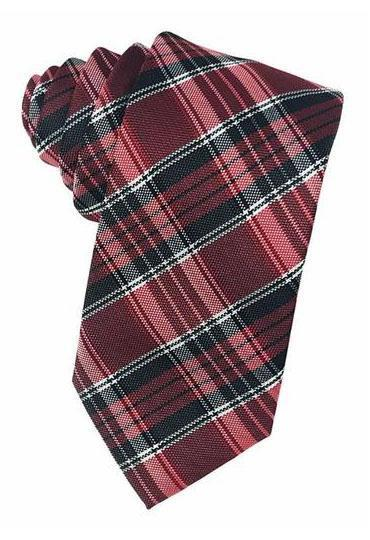 Red Madison Plaid Necktie