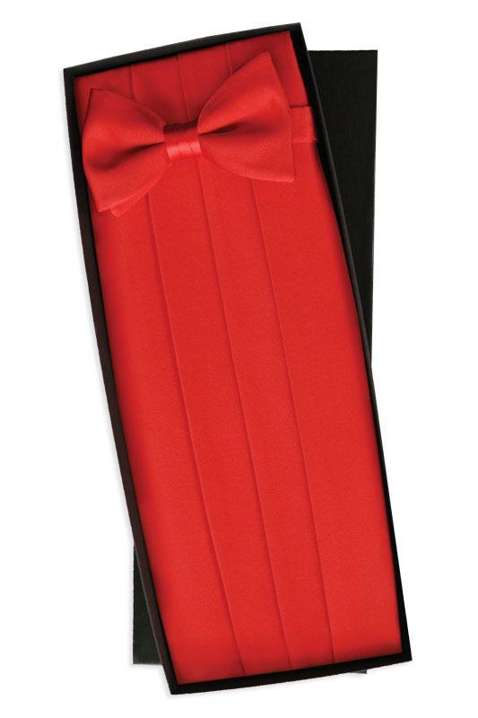 Red Silk Cummerbund & Bow Tie Set
