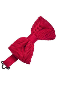 Red Silk Knit Bow Tie