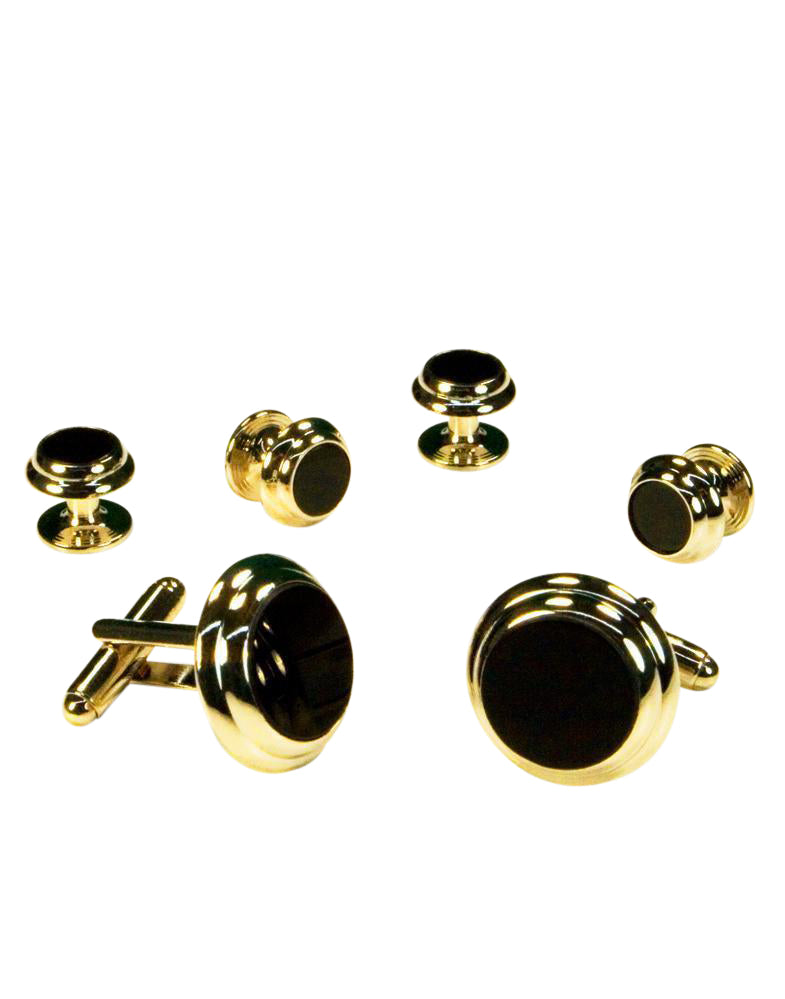 Black Circular Onyx with Gold Double Edge Concentric Circles Studs and Cufflinks Set
