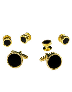 Black Circular Onyx with Gold Feather Cut Edge Studs and Cufflinks Set