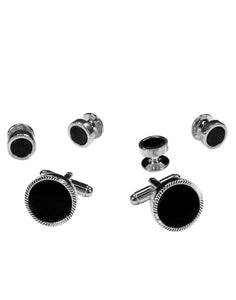 Black Circular Onyx with Silver Feather Cut Edge Studs and Cufflinks Set