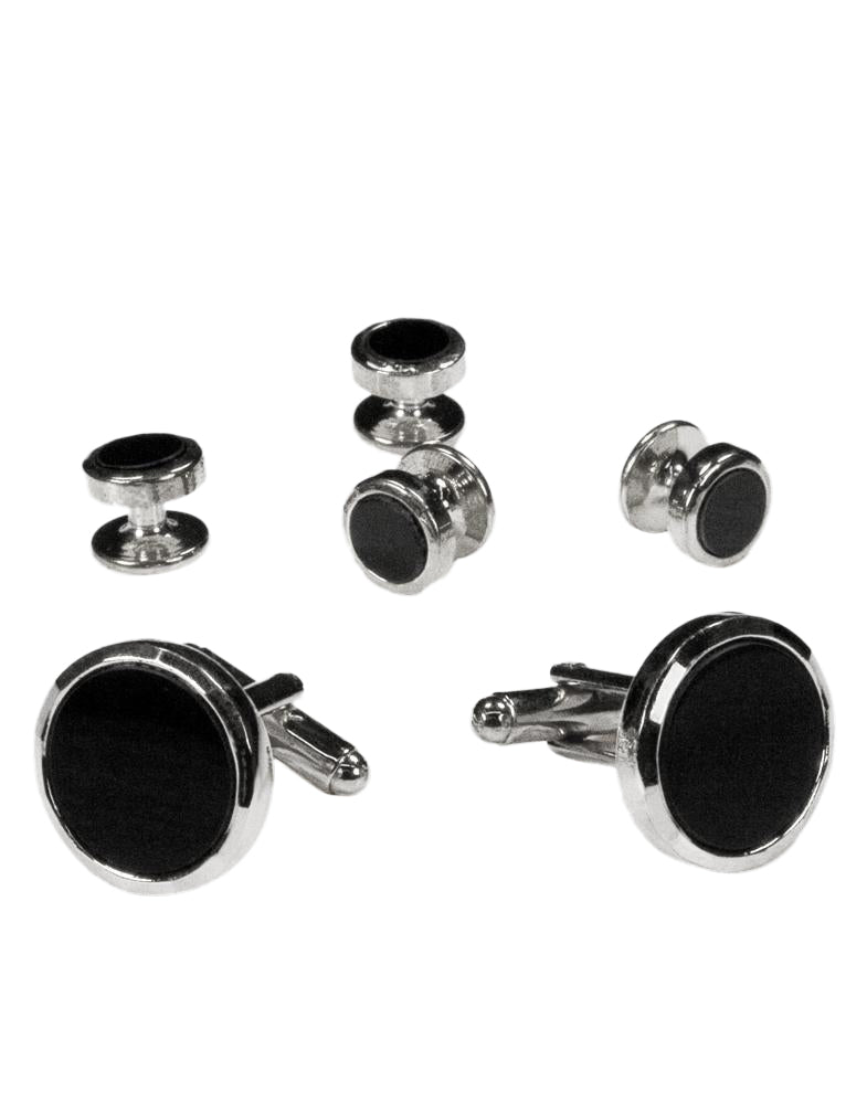 Black Circular Onyx with Silver Facet Cut Edge Studs and Cufflinks Set
