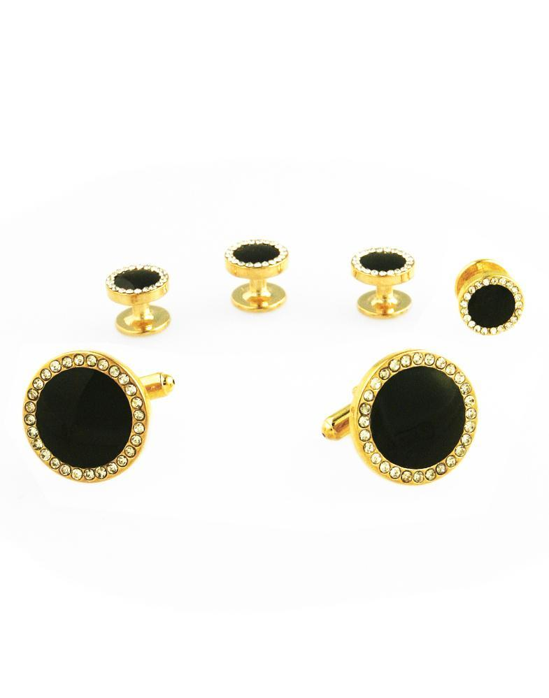 Black Circular Enamel with CZ Border Gold Edge Studs and Cufflinks Set