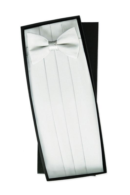White Silk Cummerbund & Bow Tie Set