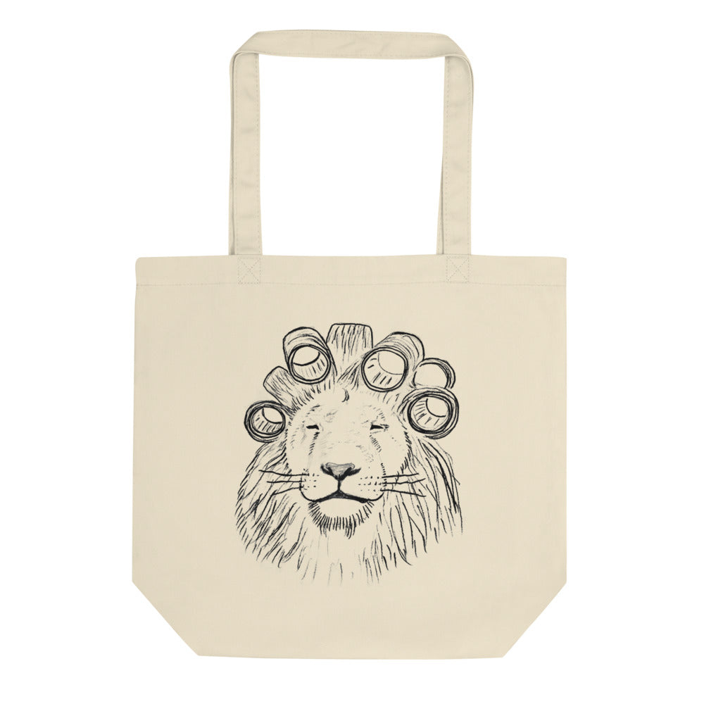 The Lion Bag - 100% Certified Organic Cotton Tote; Lion with Hair Rollers; Afropunk Brooklyn 2019; t-pain's school of business