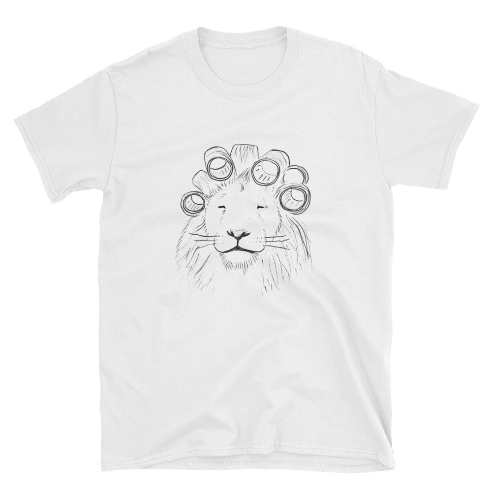 lion in hair rollers tee shirt