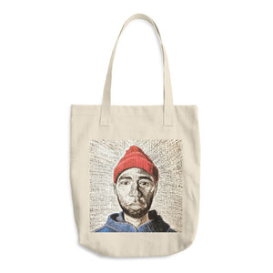 the red beanie tote bag