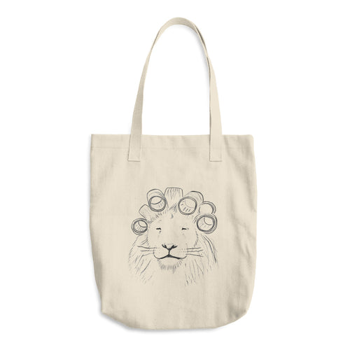 lion in hair rollers tote bag