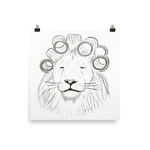 lion in hair rollers